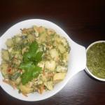 Tavuklu, pesto soslu patates salatası